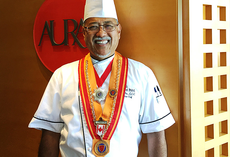 Chef Ito with award medals